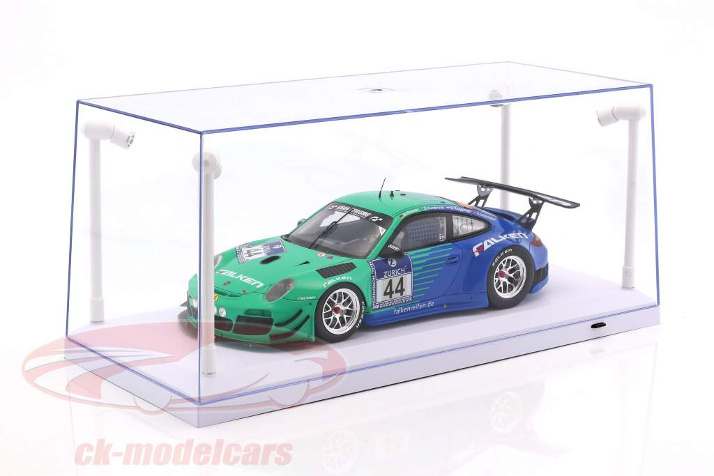 Single Showcase white with 4 Led Lamps for modelcars in scale 1:18 Triple9