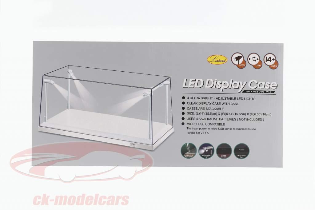 único mostruário branco com 4 Liderados lâmpadas para modelcars em escala 1:18 Triple9