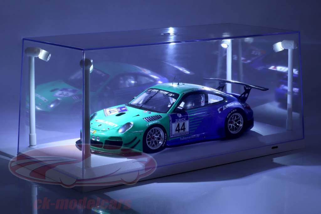 Einzelvitrine weiß mit 4 LED-Lampen für Modellautos im Maßstab 1:18 Triple9