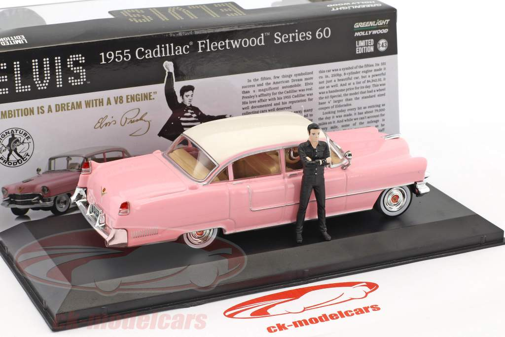 Cadillac Fleetwood Series 60 année de construction 1955 rose avec figure Elvis Presley 1:43 Greenlight