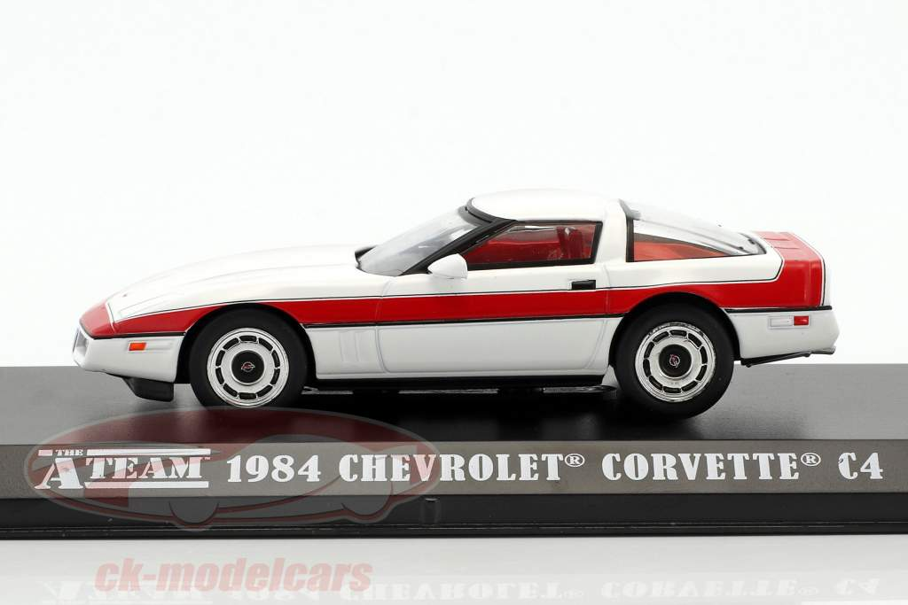 Chevrolet Corvette C4 Baujahr 1984 TV-Serie Das A-Team (1983-87) weiß / rot 1:43 Greenlight