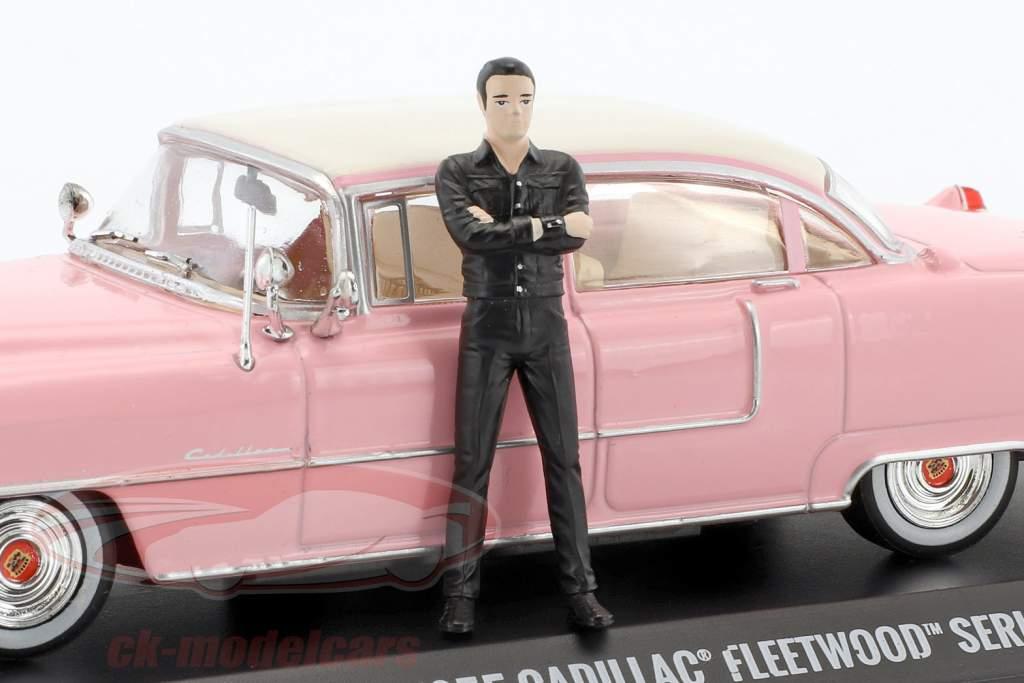 Cadillac Fleetwood Series 60 Baujahr 1955 pink mit Figur Elvis Presley 1:43 Greenlight