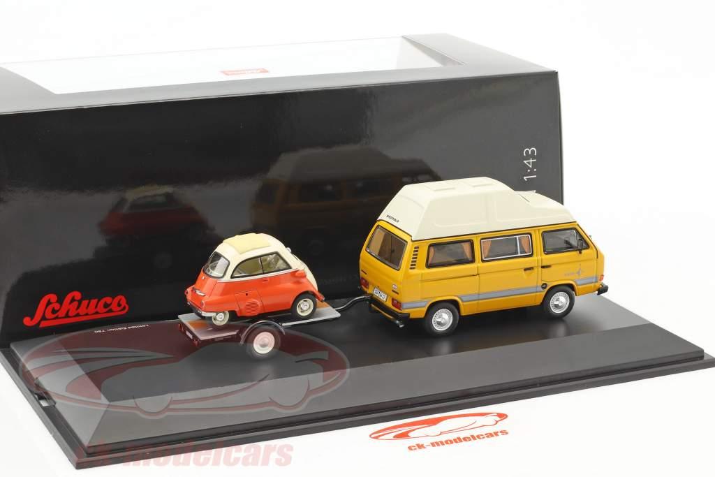 Volkswagen VW T3 Joker camper con auto trailer e BMW Isetta giallo / rosso / bianco 1:43 Schuco