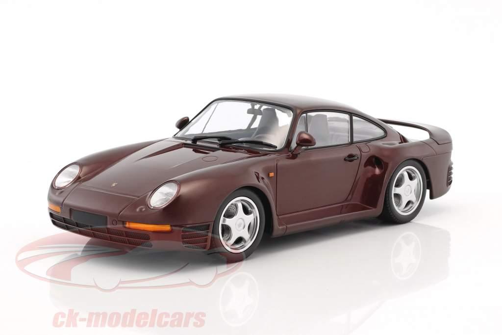 Porsche 959 anno di costruzione 1987 scuro rosso metallico 1:18 Minichamps