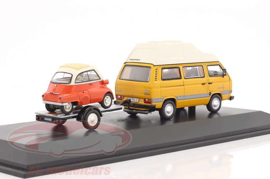 Volkswagen VW T3 Joker Campingbus mit Autoanhänger und BMW Isetta gelb / rot / weiß 1:43 Schuco