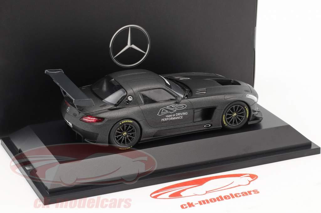 Mercedes-Benz SLS AMG GT3 45th jubilæum mørk grå metallisk 1:43 Minichamps