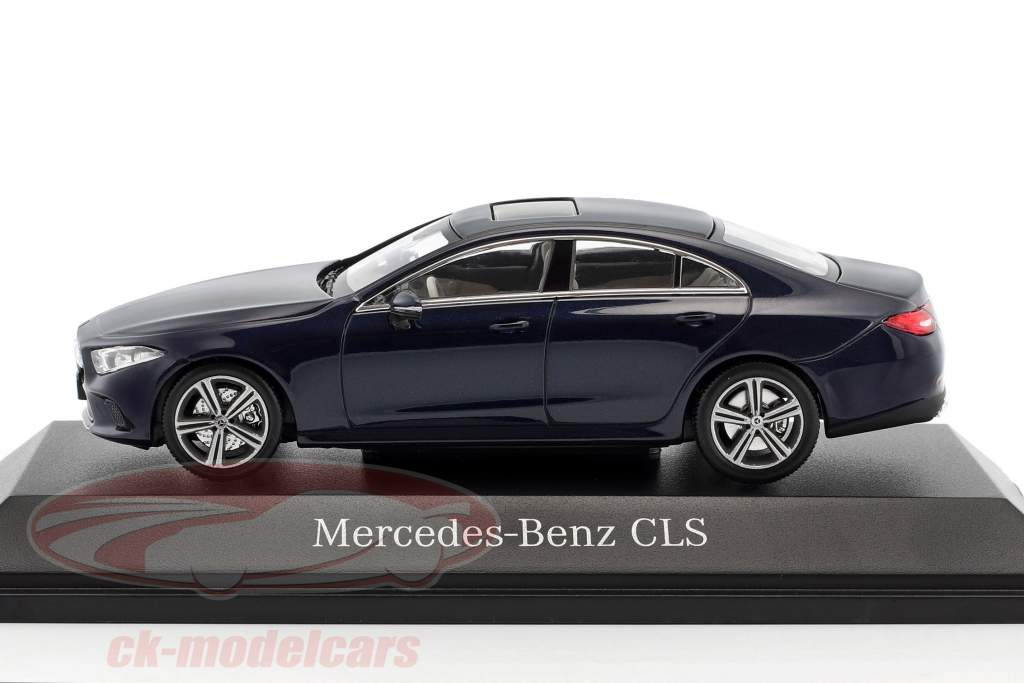 Mercedes-Benz CLS coupe (C257) year 2018 cavansite blue metallic 1:43 Norev