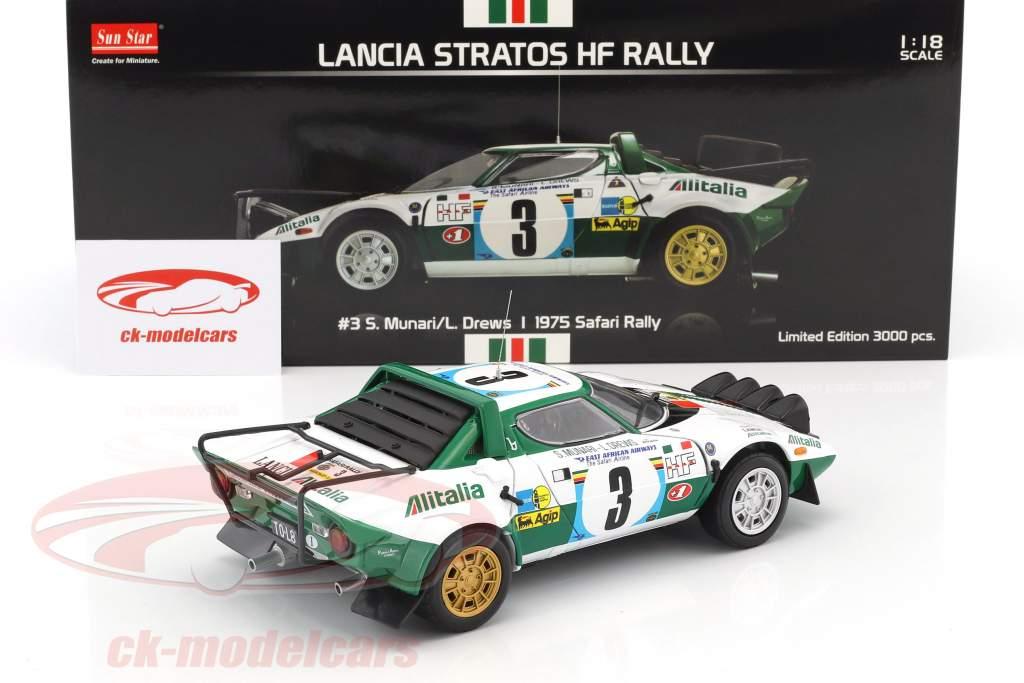 Lancia Stratos HF #3 2nd Safari Rallye 1975 Munari, Drews 1:18 SunStar