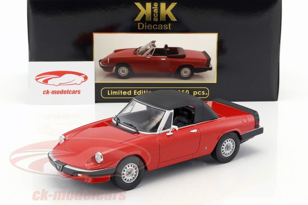 Alfa Romeo Spider 3 Serie 1 mit abnehmbarem Softtop Baujahr 1983 rot 1:18 KK-Scale