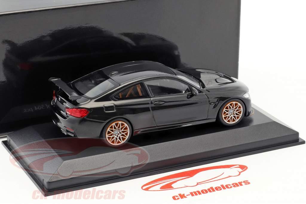 BMW M4 GTS année de construction 2016 saphir noir métallique avec orange roues 1:43 Minichamps