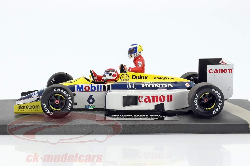 K. Rosberg riding on N. Piquet Williams FW11 #6 Winner Germany GP F1 1986 1:18 Minichamps