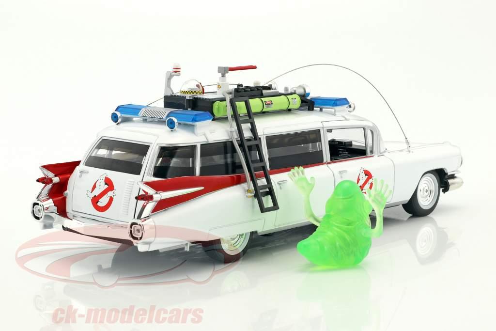 Cadillac ambulancia Ecto-1 año de construcción 1959 película Ghostbusters (1984) blanco con figura Slimer 1:18 Ertl