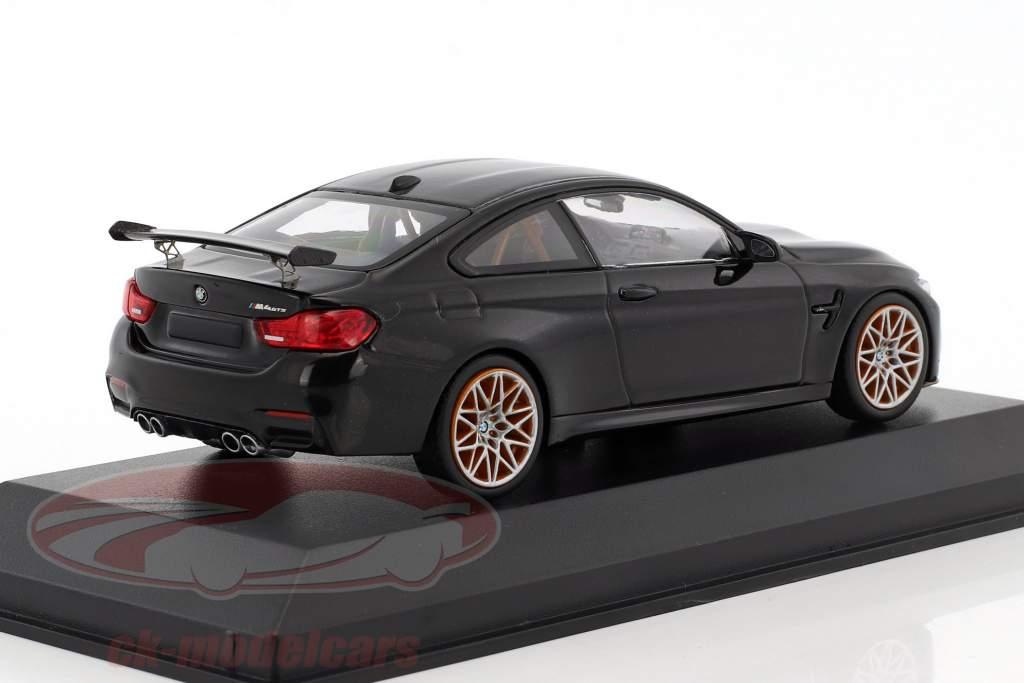 BMW M4 GTS anno di costruzione 2016 zaffiro nero metallico con arancione ruote 1:43 Minichamps