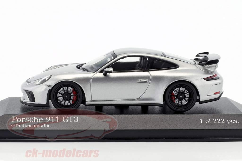 Porsche 911 (991 II) GT3 année de construction 2017 argent métallique 1:43 Minichamps