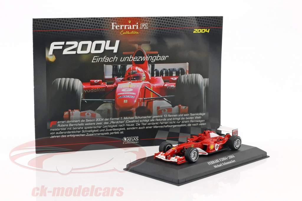 Michael Schumacher Ferrari F2004 #1 campione del mondo formula 1 2004 1:43 Atlas