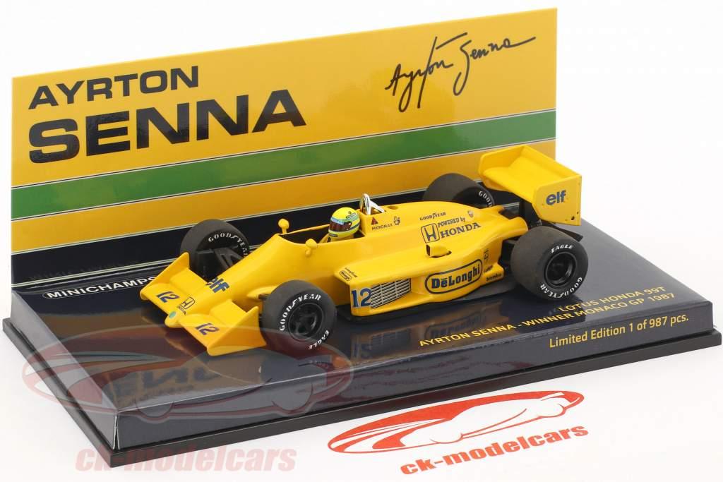 Ayrton Senna Lotus 99T #12 gagnant Monaco GP formule 1 1987 1:43 Minichamps