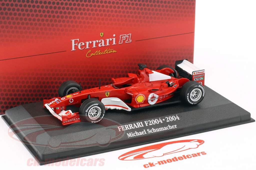 Michael Schumacher Ferrari F2004 #1 campione del mondo F1 2004 con vetrina 1:43 Atlas
