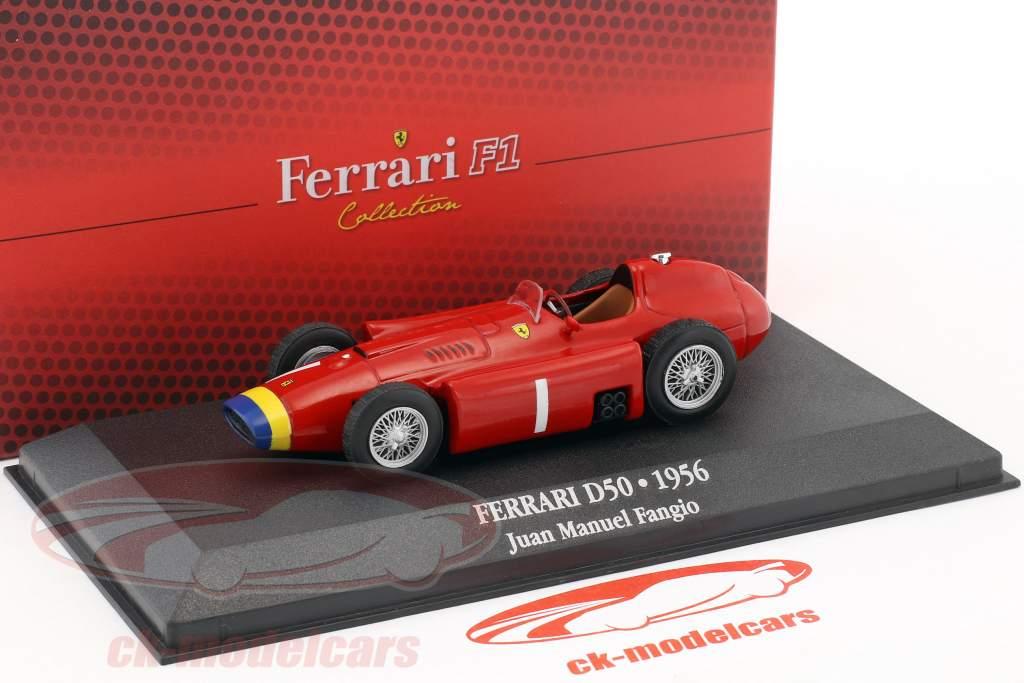 Juan Manuel Fangio Ferrari D50 #1 champion du monde F1 1956 avec vitrine 1:43 Atlas