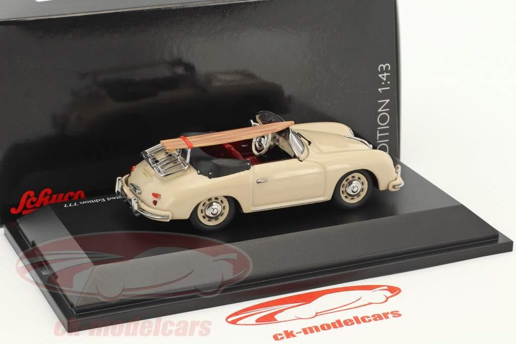 Porsche 356 A cabriolet con surf Edition 70 anni Porsche beige 1:43 Schuco