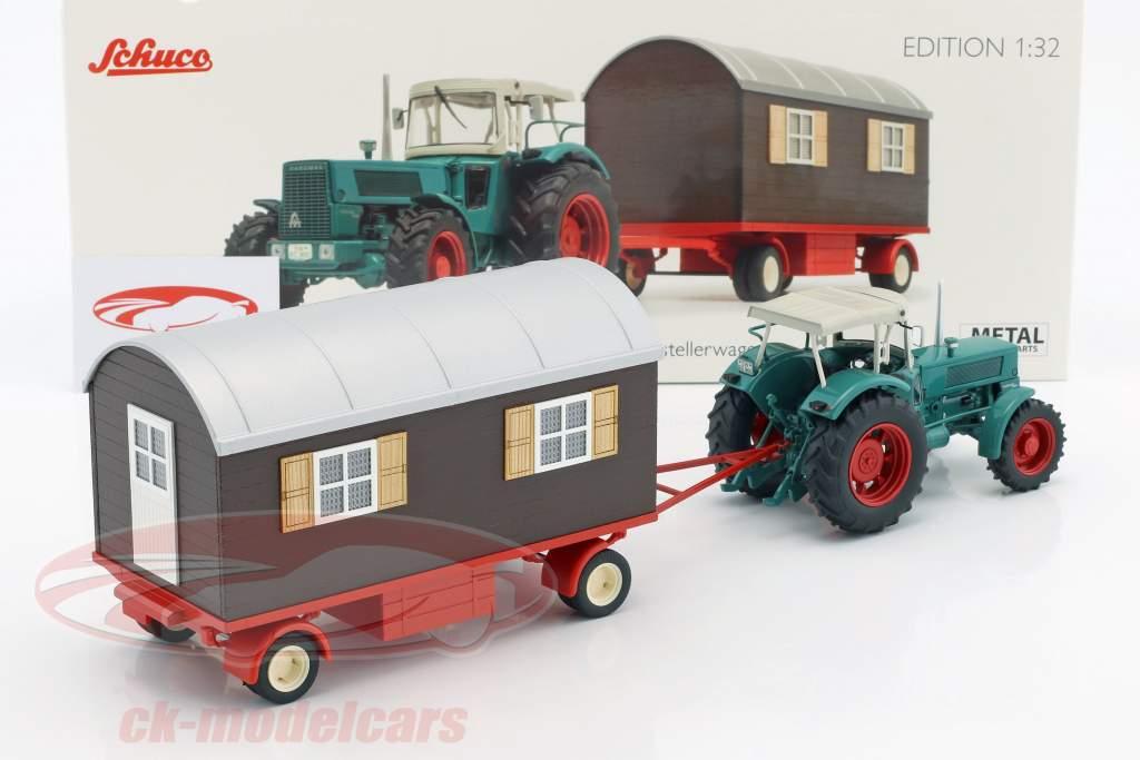 Hanomag Robust 900 trattore con trailer verde / beige / marrone 1:32 Schuco