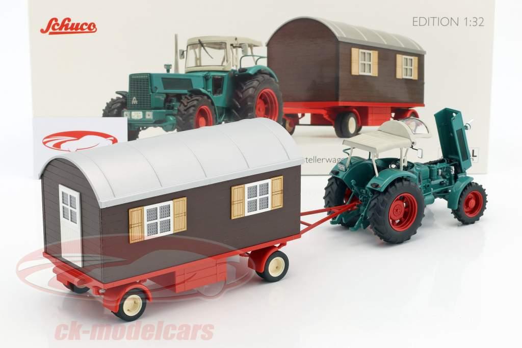 Hanomag Robust 900 tracteur avec bande-annonce vert / beige / brun 1:32 Schuco