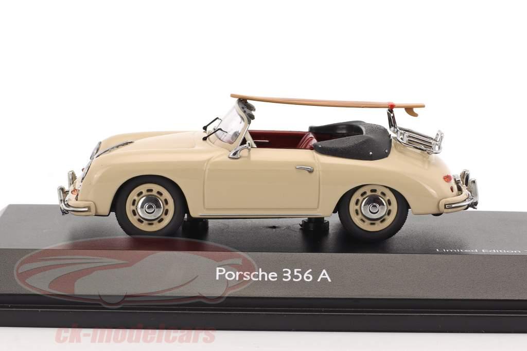 Porsche 356 A Cabriolet with surfboard Edition 70 years Porsche beige 1:43 Schuco