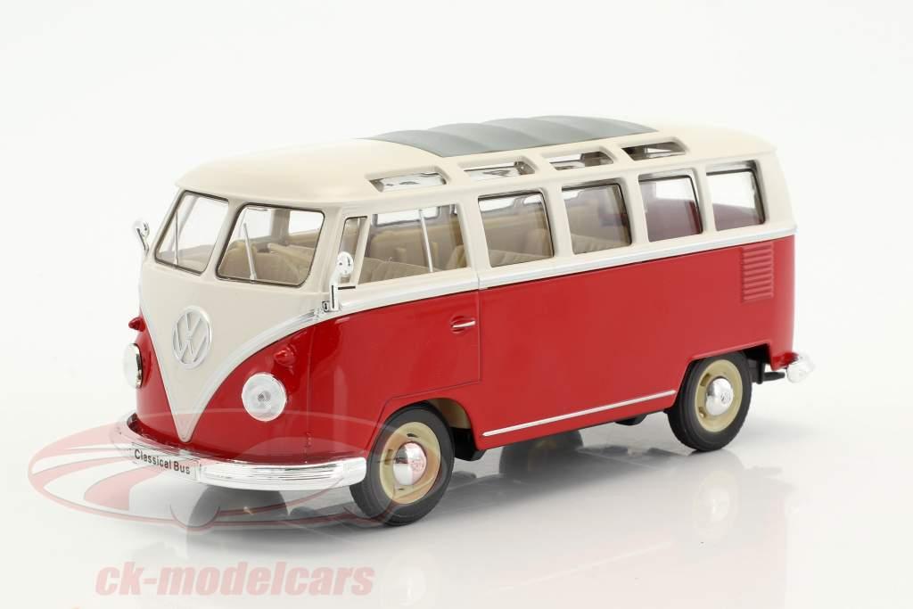 Volkswagen VW T1 bus Opførselsår 1963 rød / hvid 1:24 Welly