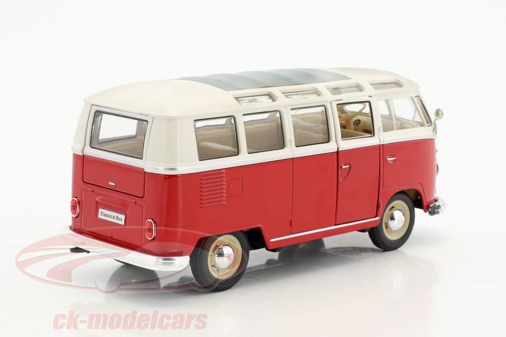 Volkswagen VW T1 autobus anno di costruzione 1963 rosso / bianco 1:24 Welly