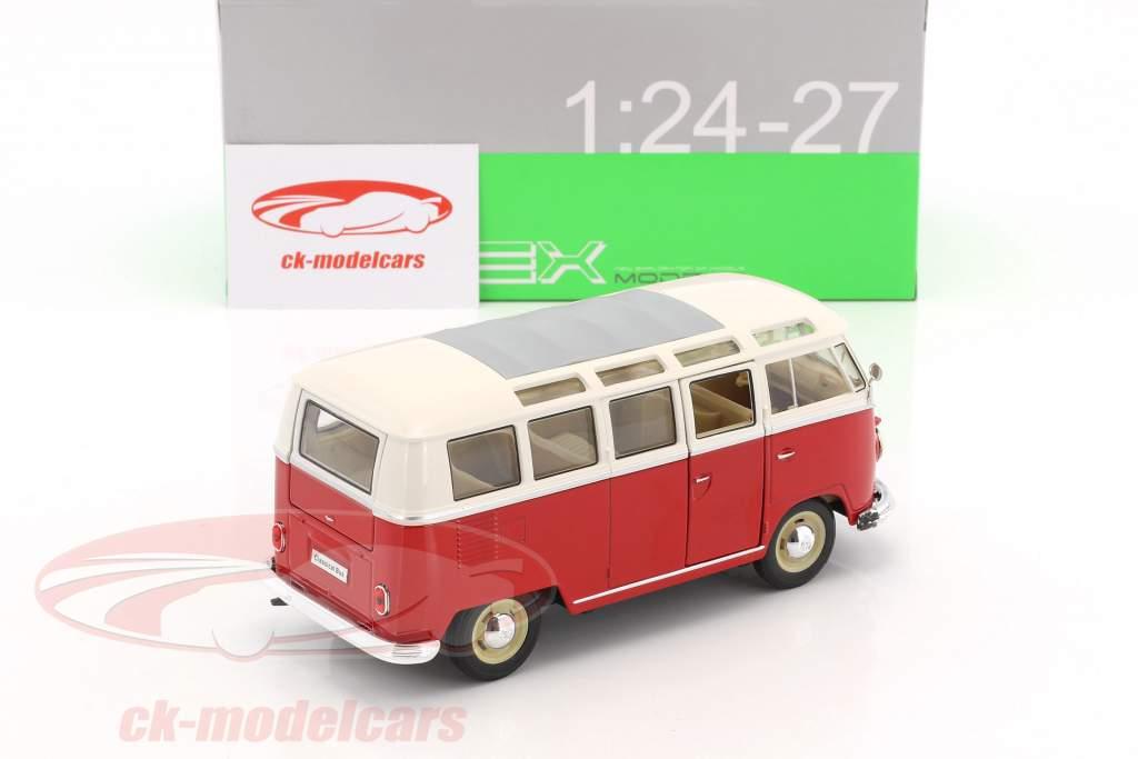 Volkswagen VW T1 Bus Baujahr 1963 rot / weiß 1:24 Welly
