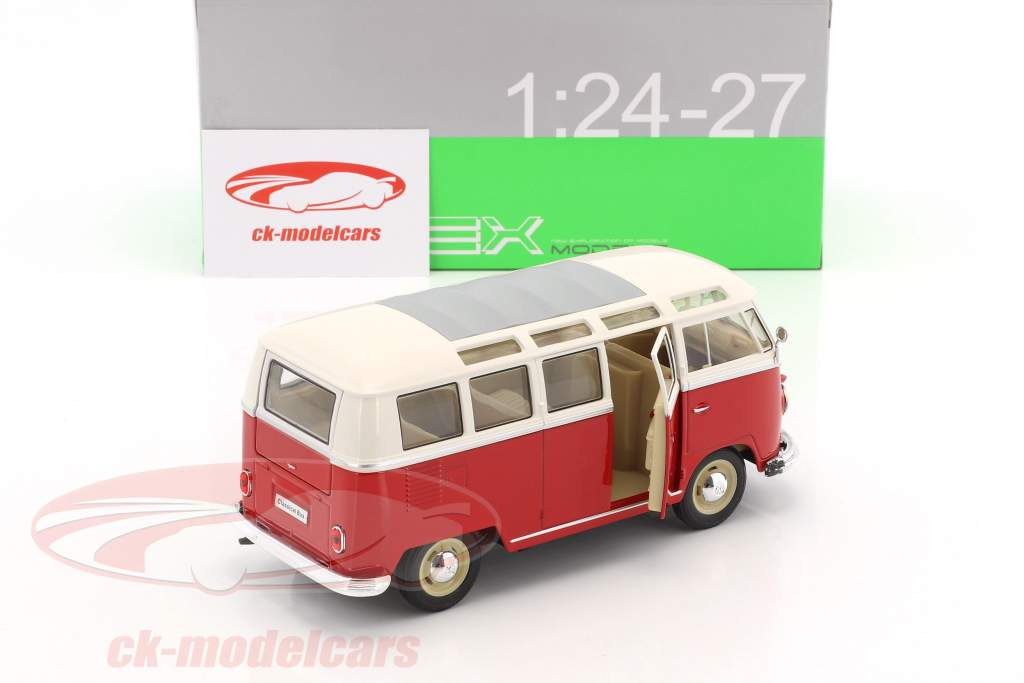 Volkswagen VW T1 bus Bouwjaar 1963 rood / wit 1:24 Welly