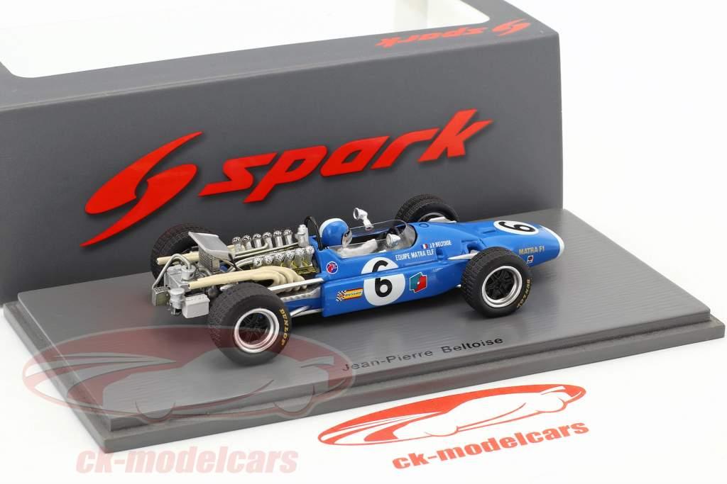 Jean-Pierre Beltoise Matra MS11 #6 France GP formule 1 1968 1:43 Spark