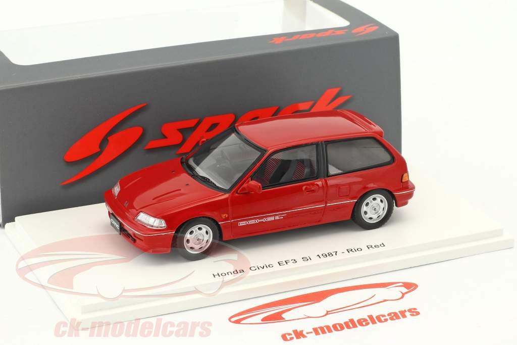 Honda Civic EF3 Si anno di costruzione 1987 rosso 1:43 Spark
