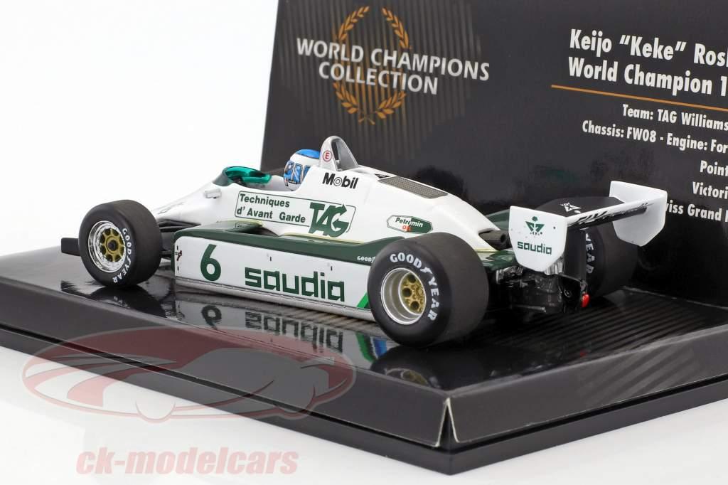 Keke Rosberg Williams FW08 #6 campione del mondo formula 1 1982 1:43 Minichamps