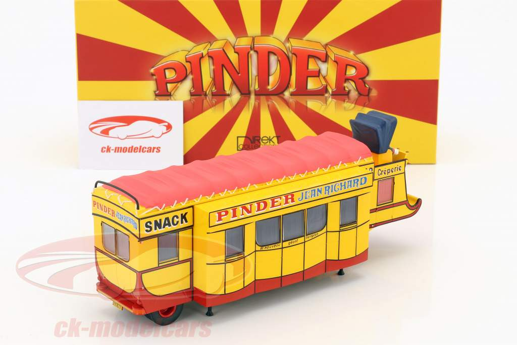 semi-reboque Creperie / Snack Bar Pinder circo amarelo / vermelho 1:43 Direkt Collections