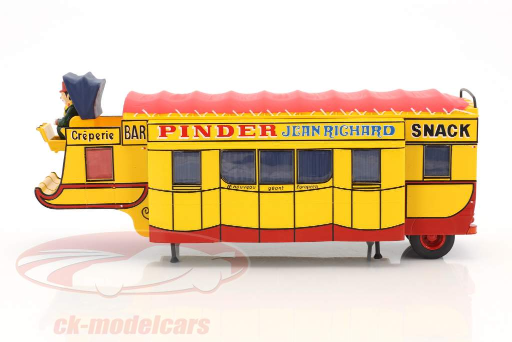 semirimorchio Creperie / Snack Bar Pinder circo giallo / rosso 1:43 Direkt Collections