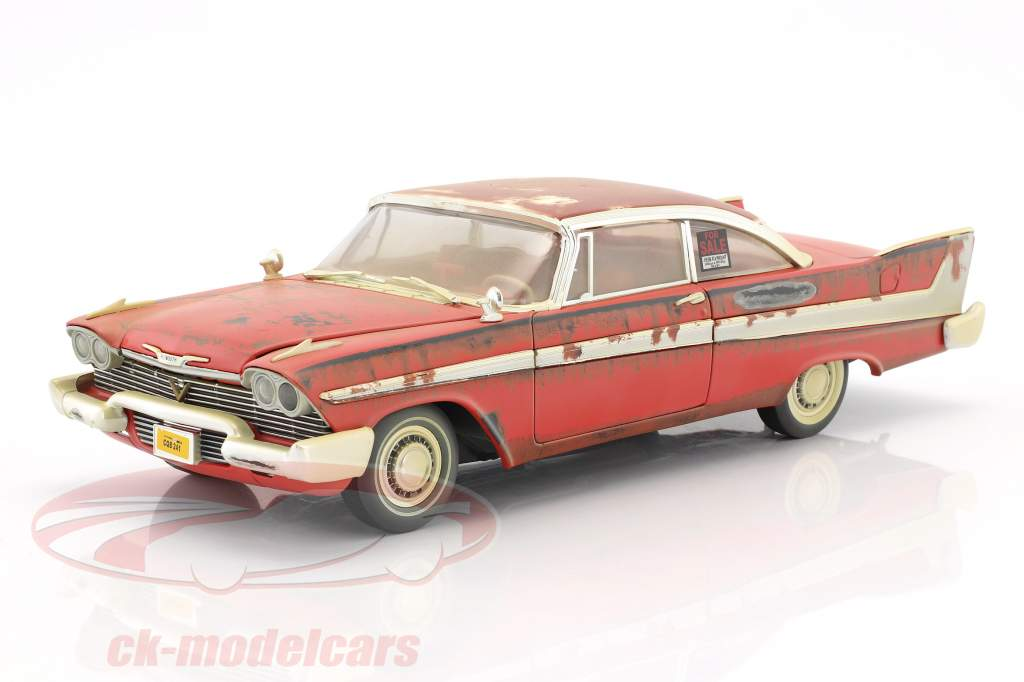 Plymouth Fury Bouwjaar 1958 film Stephen King Christine rood / wit Dirty Version 1:18 Autoworld