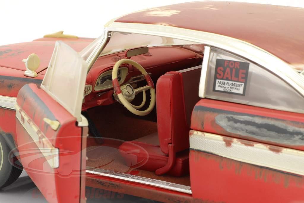 Plymouth Fury Baujahr 1958 Film Stephen King Christine rot / weiß Dirty Version 1:18 Autoworld