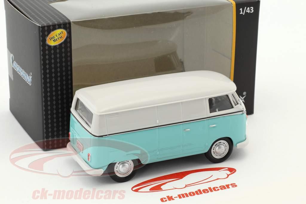 Volkswagen VW T1 Transporter wit / turkoois 1:43 Cararama