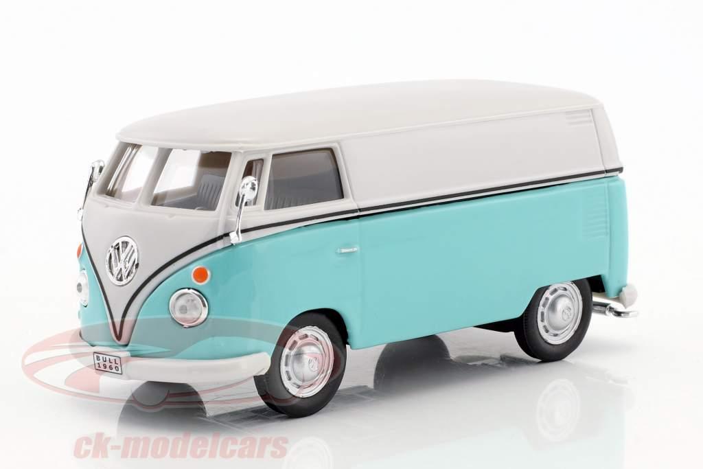 Volkswagen VW T1 Transporter branco / turquesa 1:43 Cararama