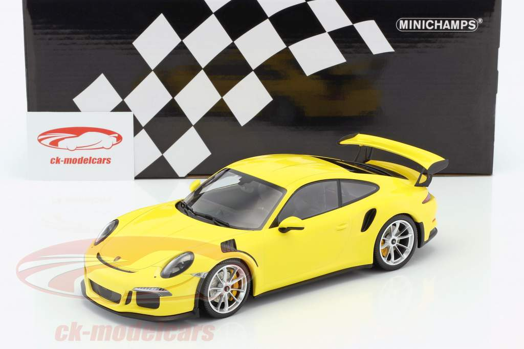 Porsche 911 (991) GT3 RS anno 2015 giallo / argento cerchioni 1:18 Minichamps