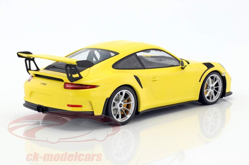 Porsche 911 (991) GT3 RS Baujahr 2015 gelb / silberne Felgen 1:18 Minichamps