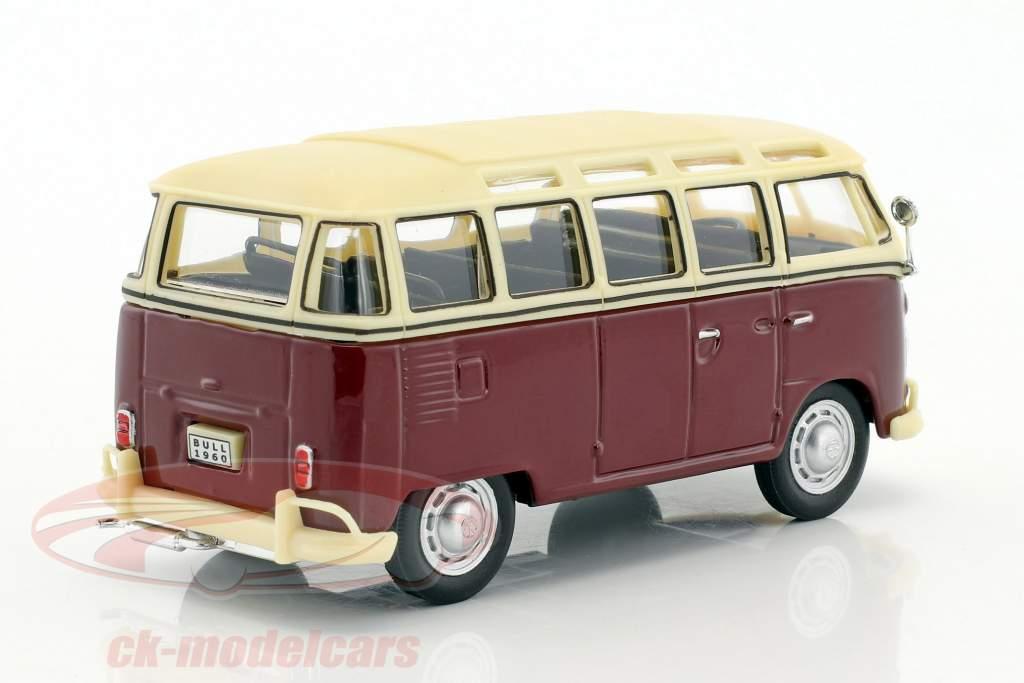 Volkswagen VW T1 Samba Bus dark red / creamy white 1:43 Cararama