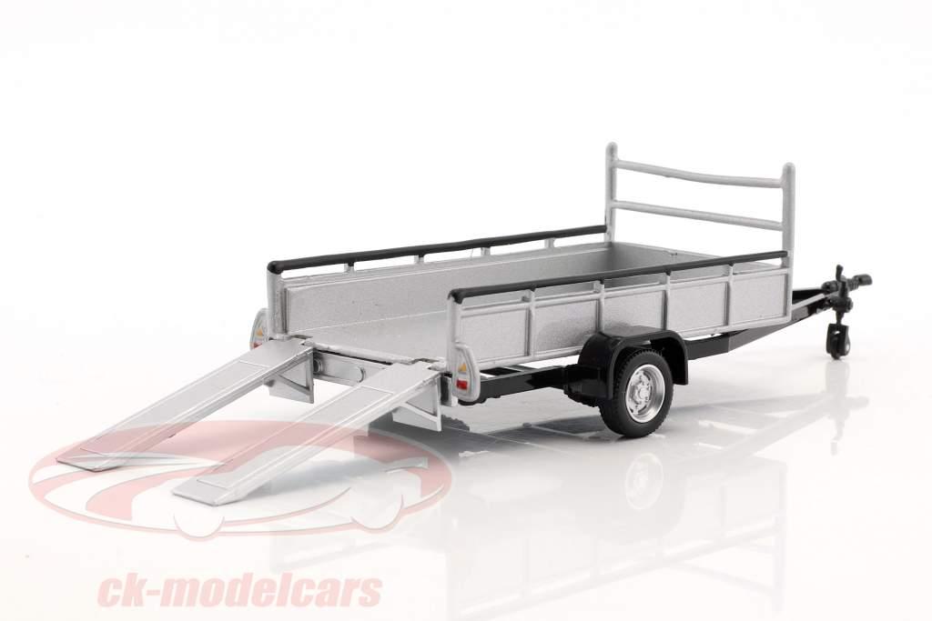 pendant Auto transporter trailer with 1 axis silver 1:43 Cararama