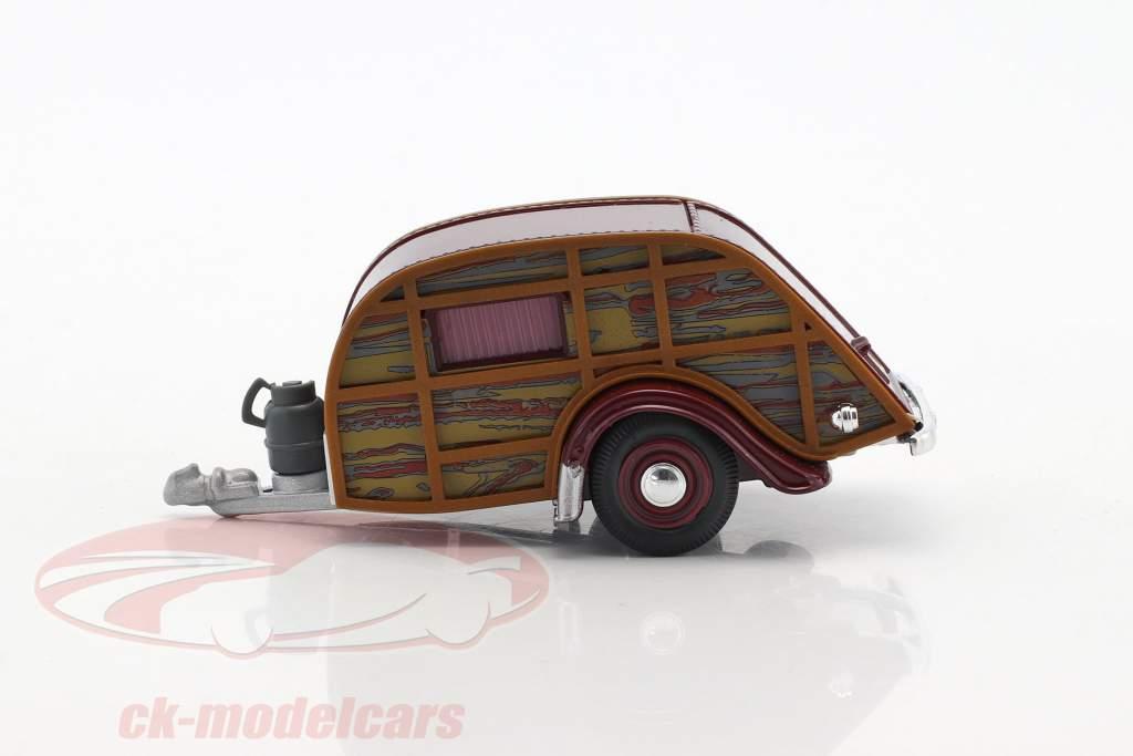 Wohnwagen holzoptik / braun 1:43 Cararama