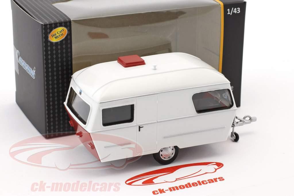 Div Wohnwagen IV year 1990 white / red 1:43 Cararama