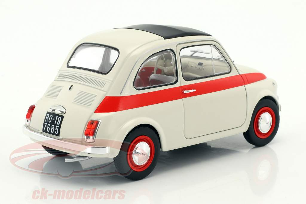 Fiat 500 L Bouwjaar 1960 crème / rood 1:18 Solido