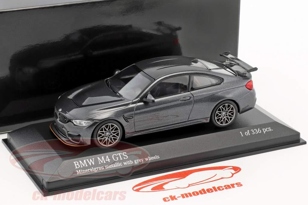 BMW M4 GTS année de construction 2016 gris minéral métallique avec gris roues 1:43 Minichamps