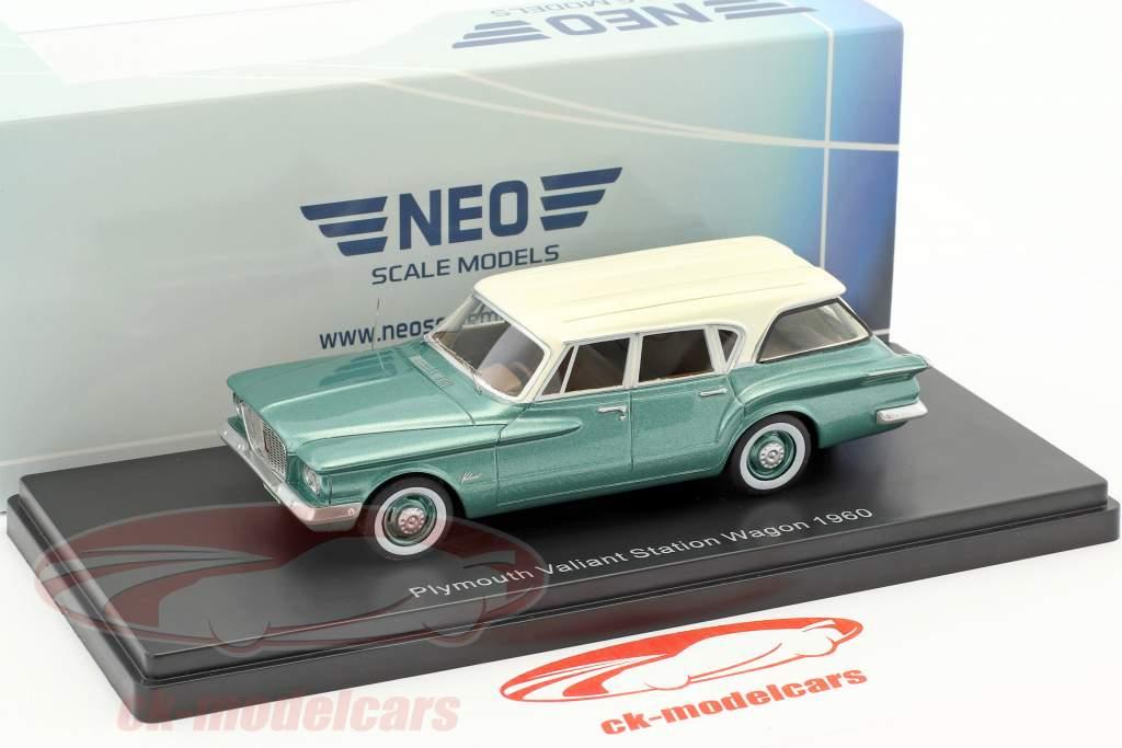 Plymouth Valiant Sation Wagon année de construction 1960 vert métallique / blanc 1:43 Neo