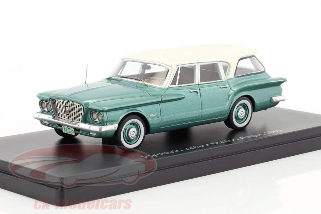 Plymouth Valiant Sation Wagon anno di costruzione 1960 verde metallico / bianco 1:43 Neo