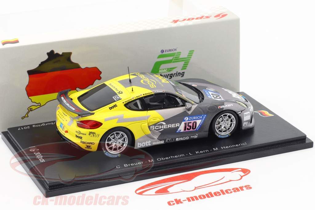 Porsche Cayman 981 GT4 Clubsport #150 24h Nürburgring 2017 Manthey Racing 1:43 Spark